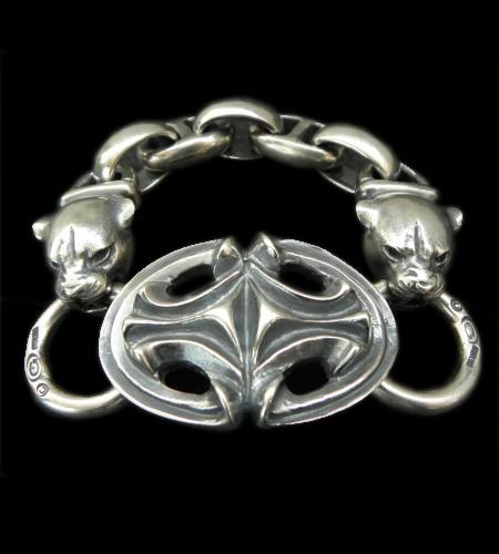 画像1: Sculpted Oval With 2medium Long Neck Panthers & Smooth H.W.O Anchor Links Bracelet