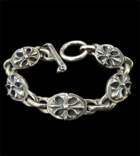 画像1: All Cross Oval Links Bracelet