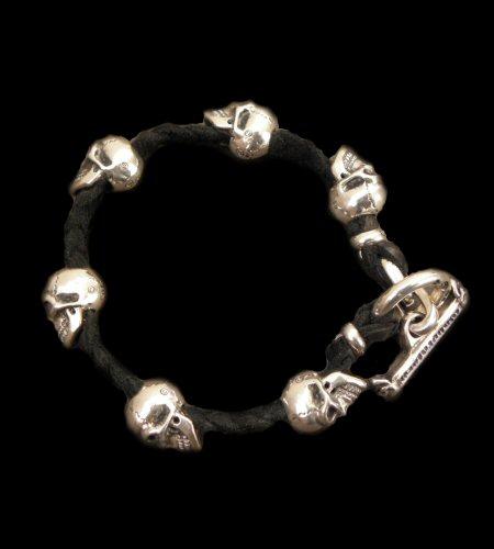 画像1: Half size 6 skulls braid leather bracelet