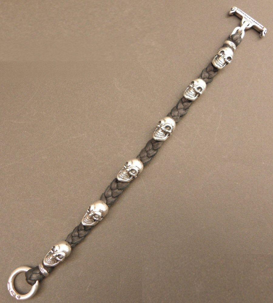 画像2: Half size 6 skulls braid leather bracelet