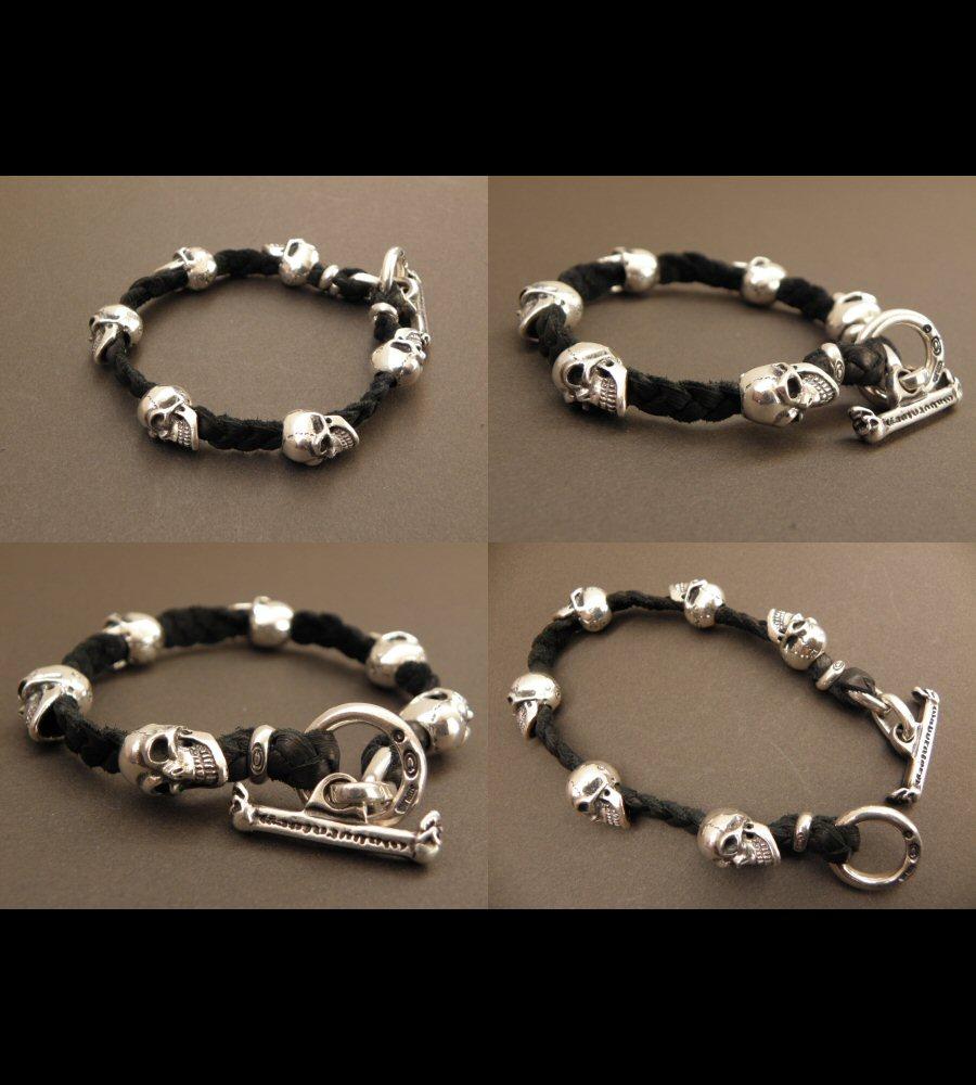 画像3: Half size 6 skulls braid leather bracelet