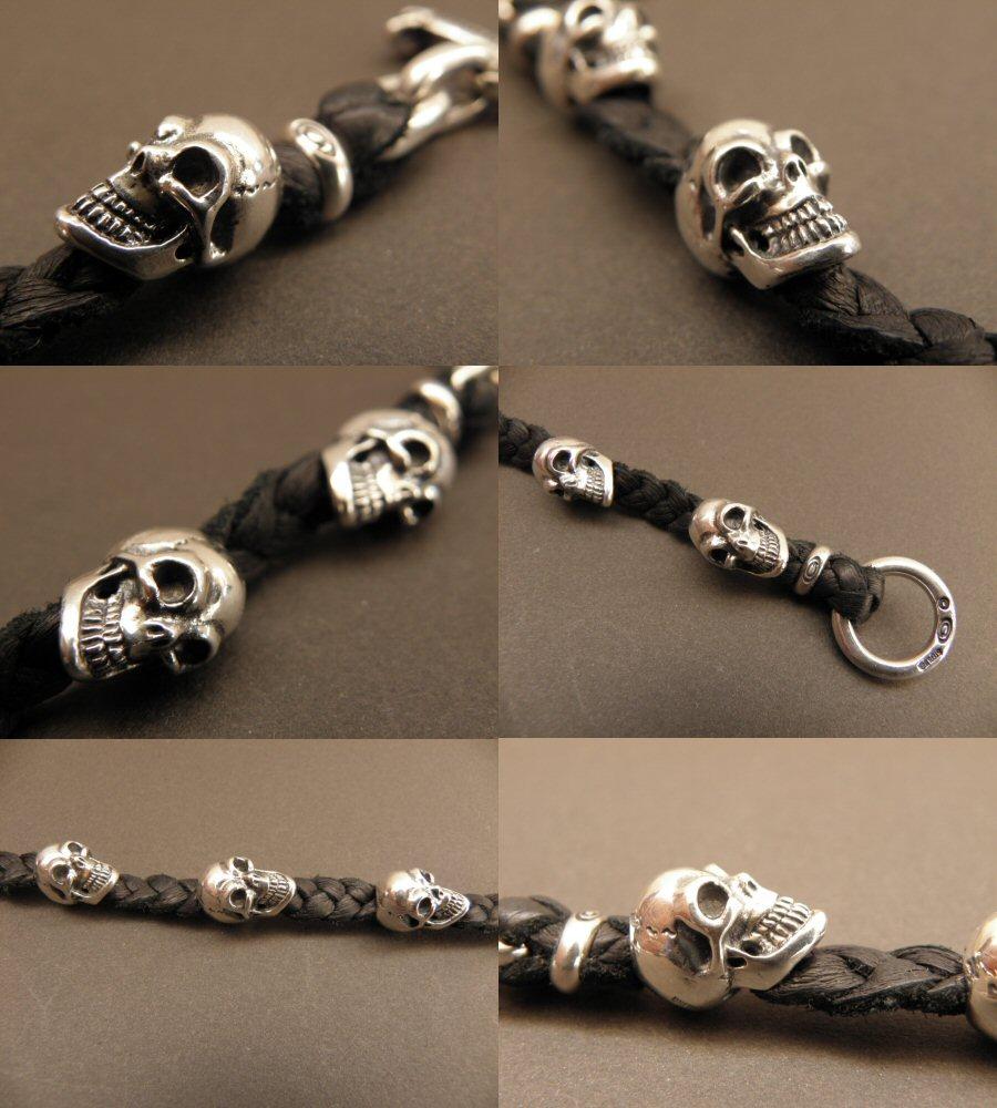 画像5: Half size 6 skulls braid leather bracelet