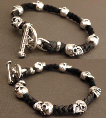 画像4: Quarter 7Skulls braid leather bracelet
