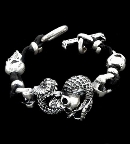 画像1: Skull On Snake With 2Skull On braid leather bracelet