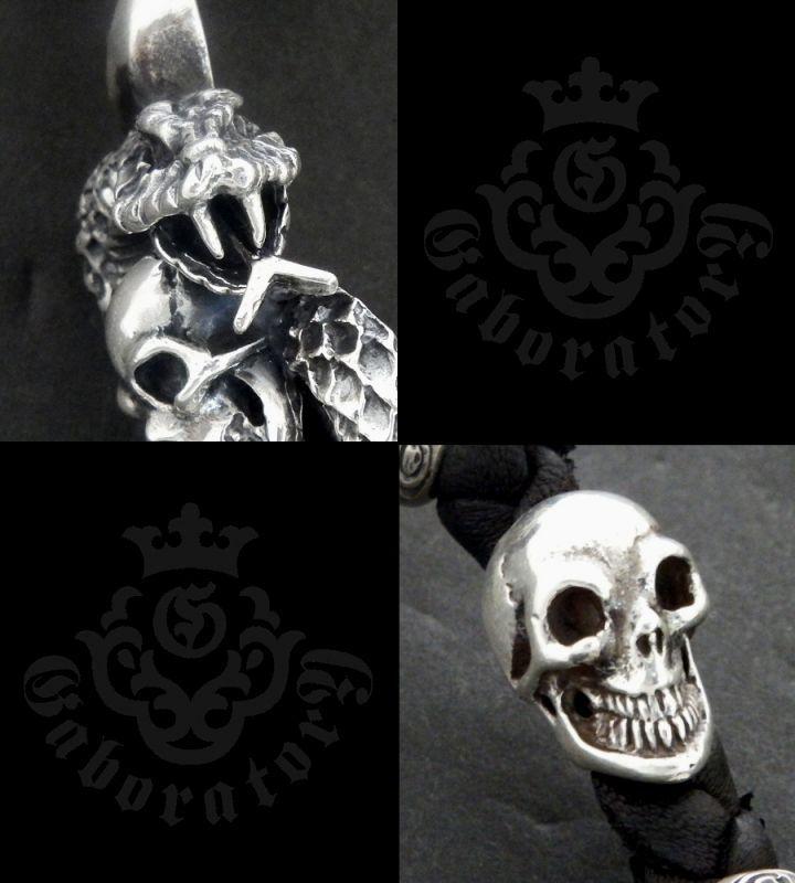 画像2: Skull On Snake With 2Skull On braid leather bracelet