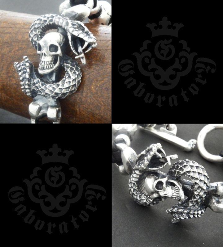 画像3: Skull On Snake With 2Skull On braid leather bracelet
