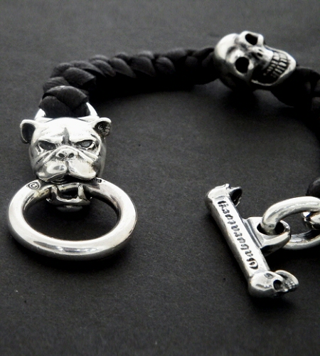 画像2: Bulldog & Skull on braid leather bracelet