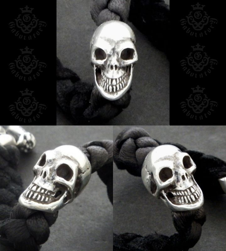 画像3: Bulldog & Skull on braid leather bracelet