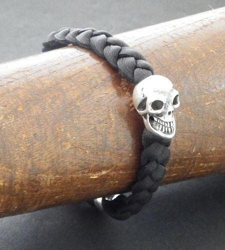 画像5: Bulldog & Skull on braid leather bracelet