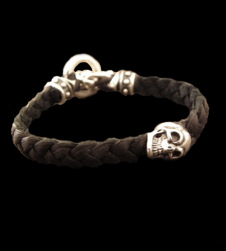 画像1: Half Skull On braid leather bracelet