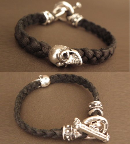画像4: Half Skull On braid leather bracelet