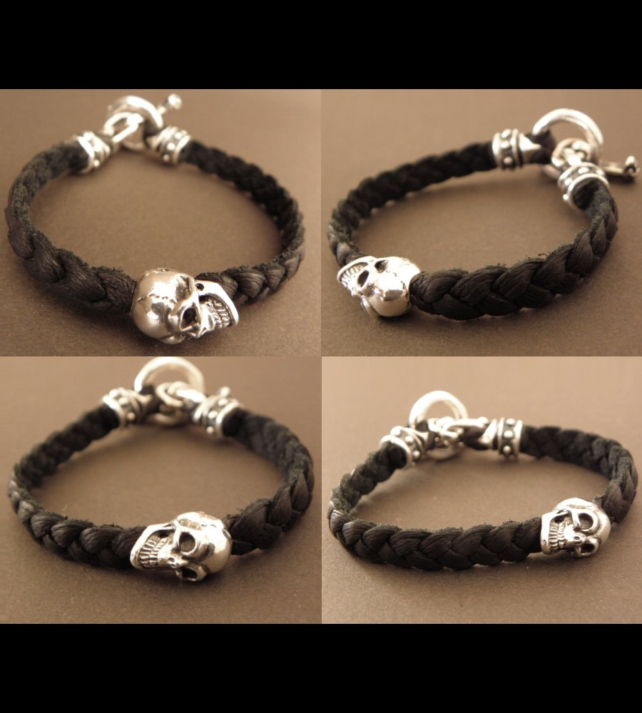 画像5: Half Skull On braid leather bracelet