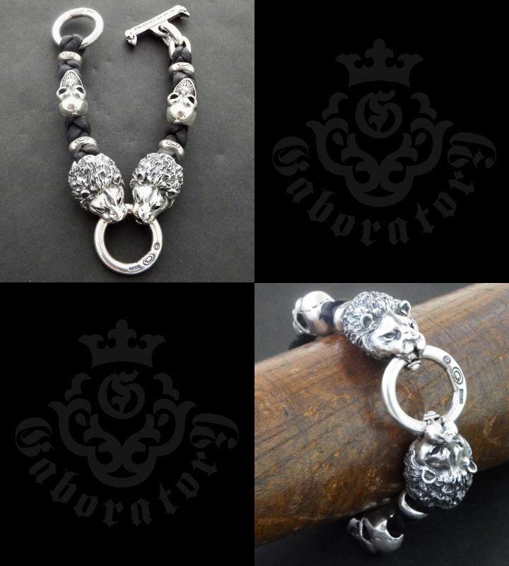 画像5: 2Lions With 2Skulls braid leather bracelet
