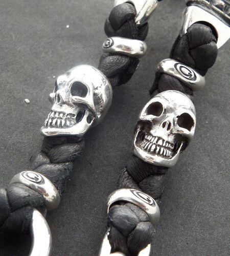 画像2: 2Old Bulldogs With 2Skulls braid leather bracelet