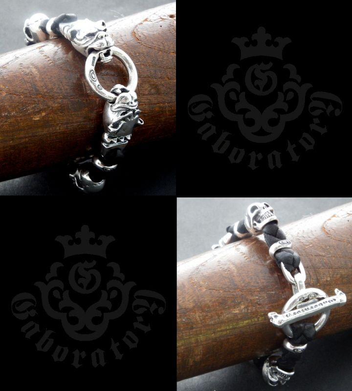 画像5: 2Old Bulldogs With 2Skulls braid leather bracelet