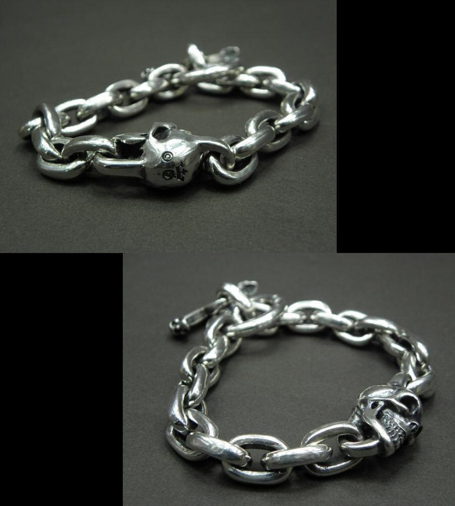 画像3: Single Skull With Small Oval Chain Links Bracelet