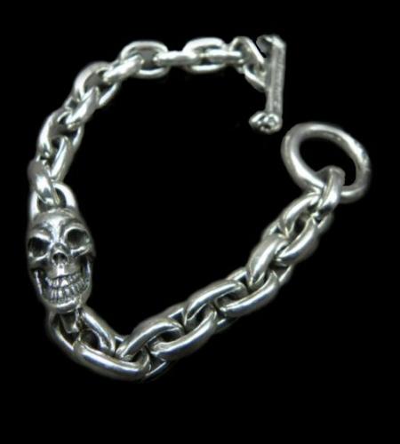 画像1: Single Skull With Small Oval Chain Links Bracelet
