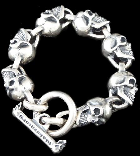 画像1: All Slant Head Skulls Link Bracelet