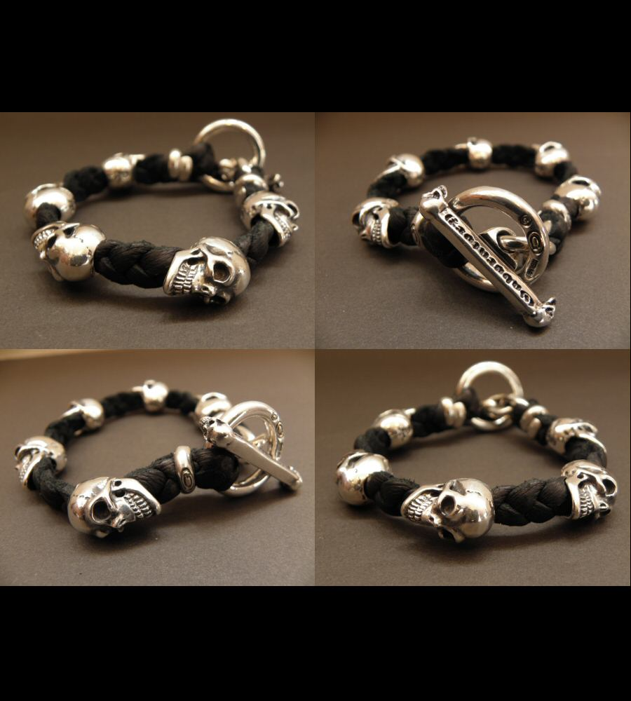 画像2: 5Skulls braid leather bracelet
