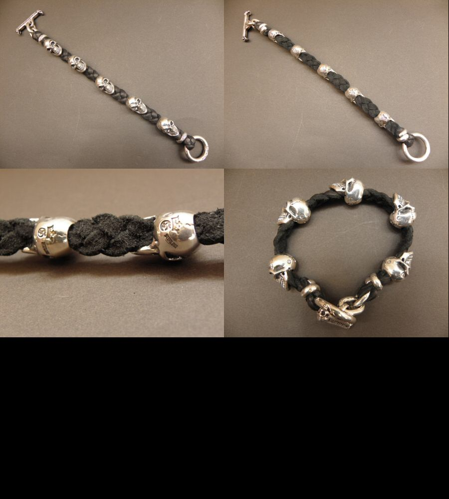 画像4: 5Skulls braid leather bracelet