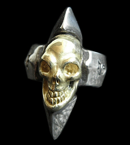 画像1: 18k Gold Skull with Spike Ring