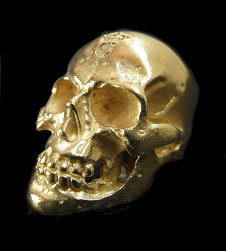 画像1: 10k Gold Half Large Skull Ring