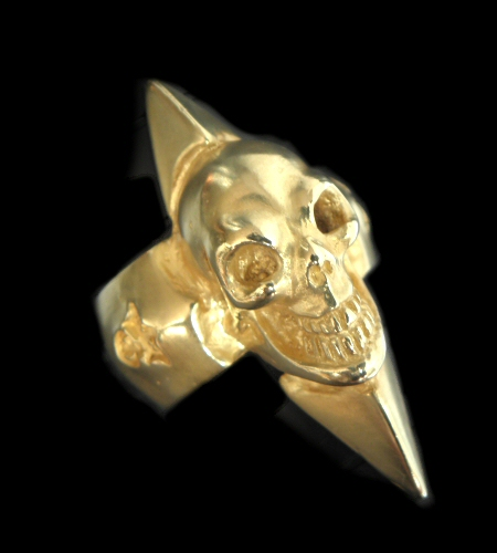 画像1: 10k Gold Skull with Spike Ring
