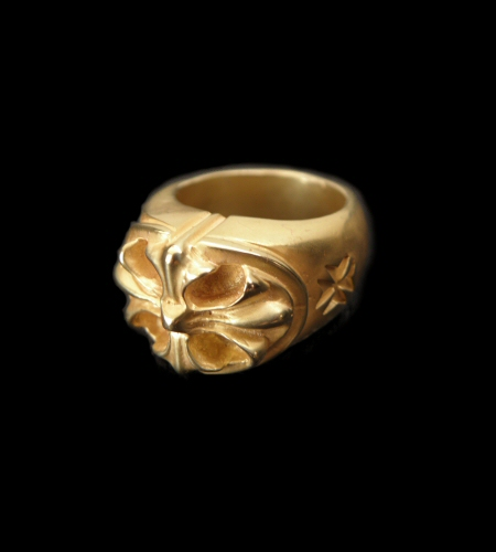 画像1: 10k Gold Cross Oval Ring