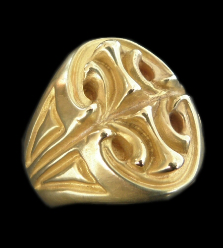画像1: 10k Gold Sculpted Oval Signet Ring