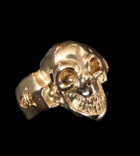 画像1: Gold Single Skull Ring