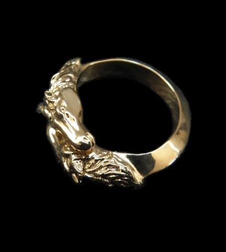 画像1: Gold Horse Quarter Triangle Wire Bangle Ring