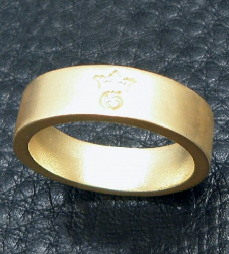 画像2: 10k Gold Flat Bar Ring With Out Maltese Cross (Pure Gold Color Finish)