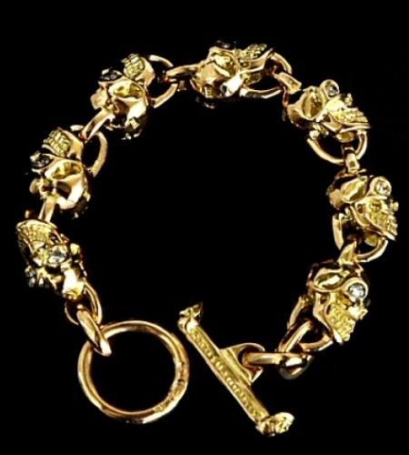 画像1: 18k 7 Skull with Diamond Bracelet
