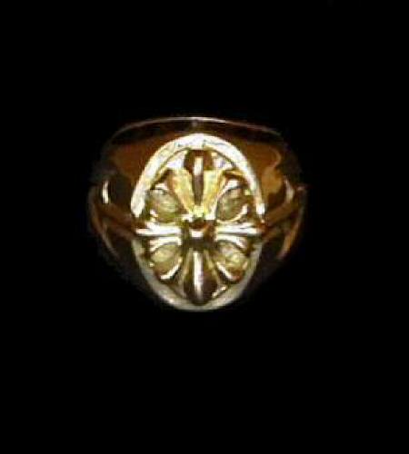 画像1: 18k Cross Oval Signet Ring