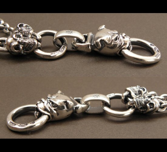 画像4: Half Bulldog With 2 Quarter Skull & 7Chain Necklace