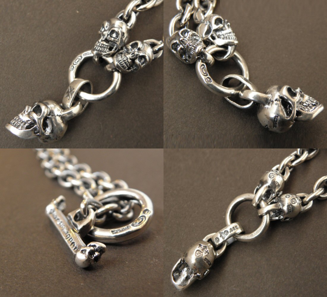 画像5: Half Skull With 2 Quarter Skulls & 7Chain Necklace