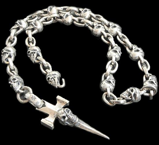 画像1: Half Single Skull Dagger Square Bottom & H.W.O With Quarter Skull & Small Oval Links Necklace
