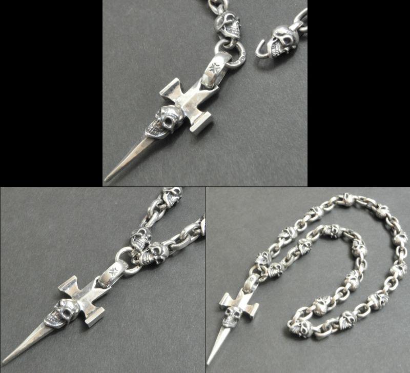 画像4: Half Single Skull Dagger Square Bottom & H.W.O With Quarter Skull & Small Oval Links Necklace