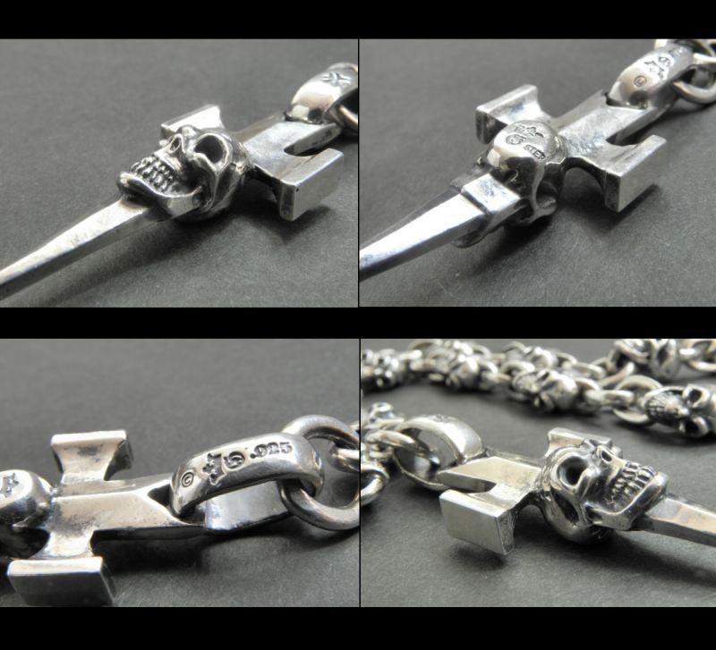 画像2: Half Single Skull Dagger Square Bottom & H.W.O With Quarter Skull & Small Oval Links Necklace