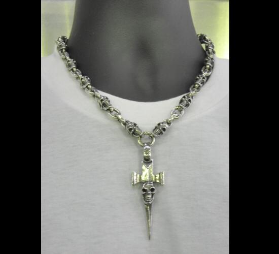 画像5: Half Single Skull Dagger Square Bottom & H.W.O With Quarter Skull & Small Oval Links Necklace
