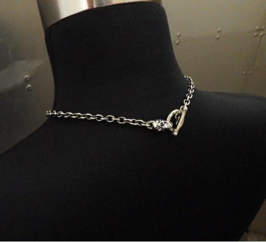画像2: 6Chain with quarter skull & quarter T-bar necklace