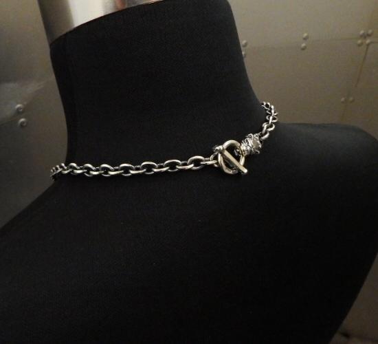画像2: 7Chain with quarter old bulldog & quarter T-bar necklace