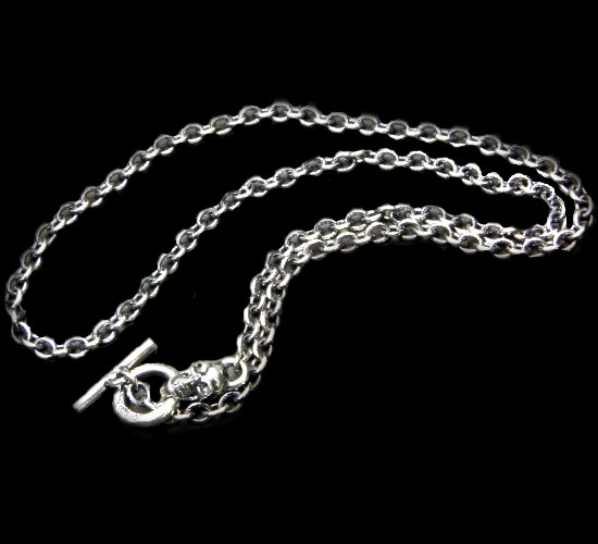 画像1: 3.9Chain with 1/8 skull & 1/16 Classic T-bar Necklace