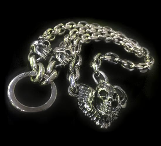 画像1: 2skull & skull wing with small oval links & key ring necklace