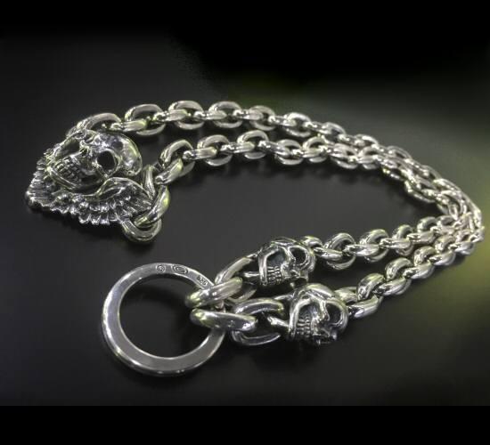 画像2: 2skull & skull wing with small oval links & key ring necklace