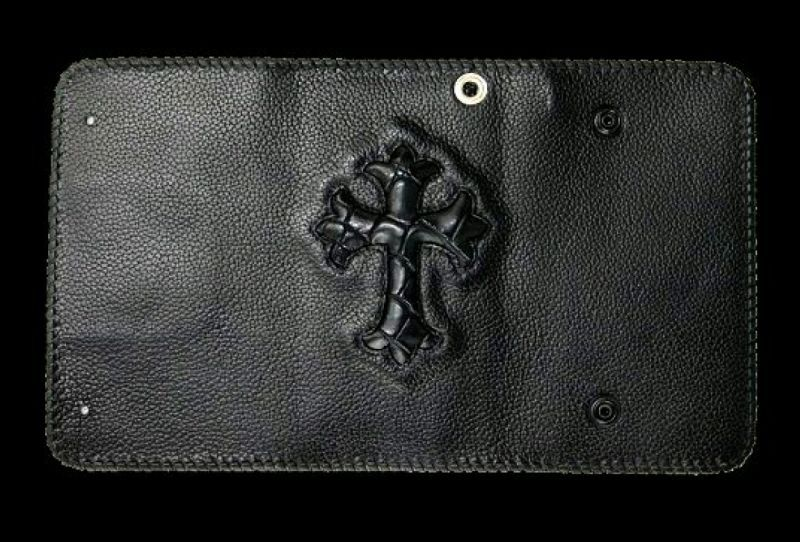 画像1: Crocodile Cross Inlay Buffalo Long Wallet