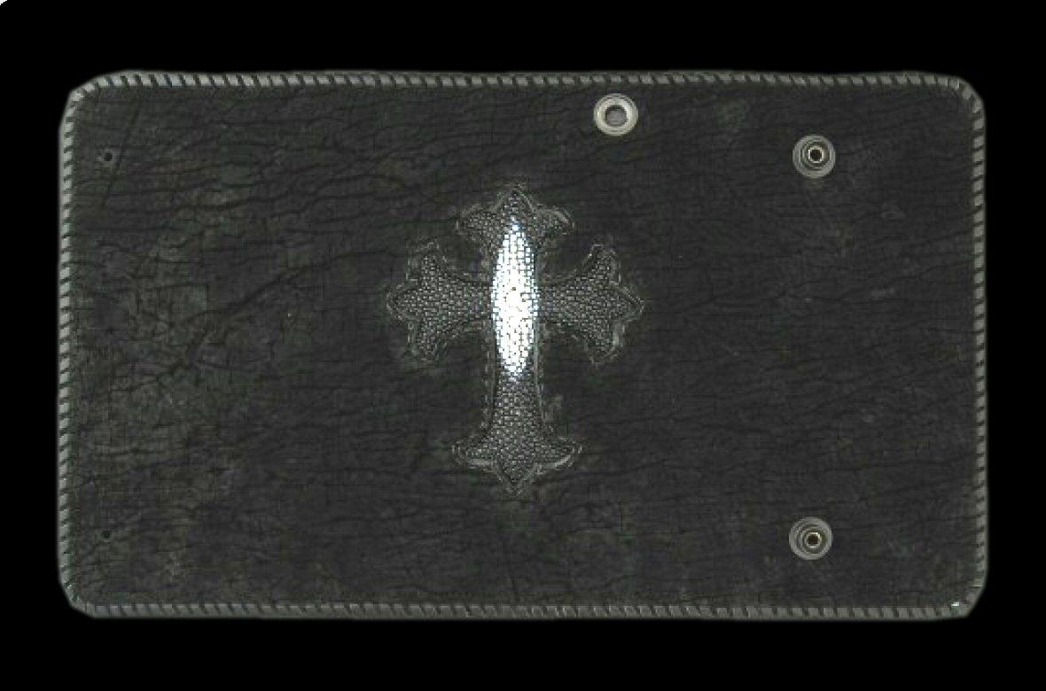 画像1: Stingray(Star) Cross Inlay Hippo Long Wallet