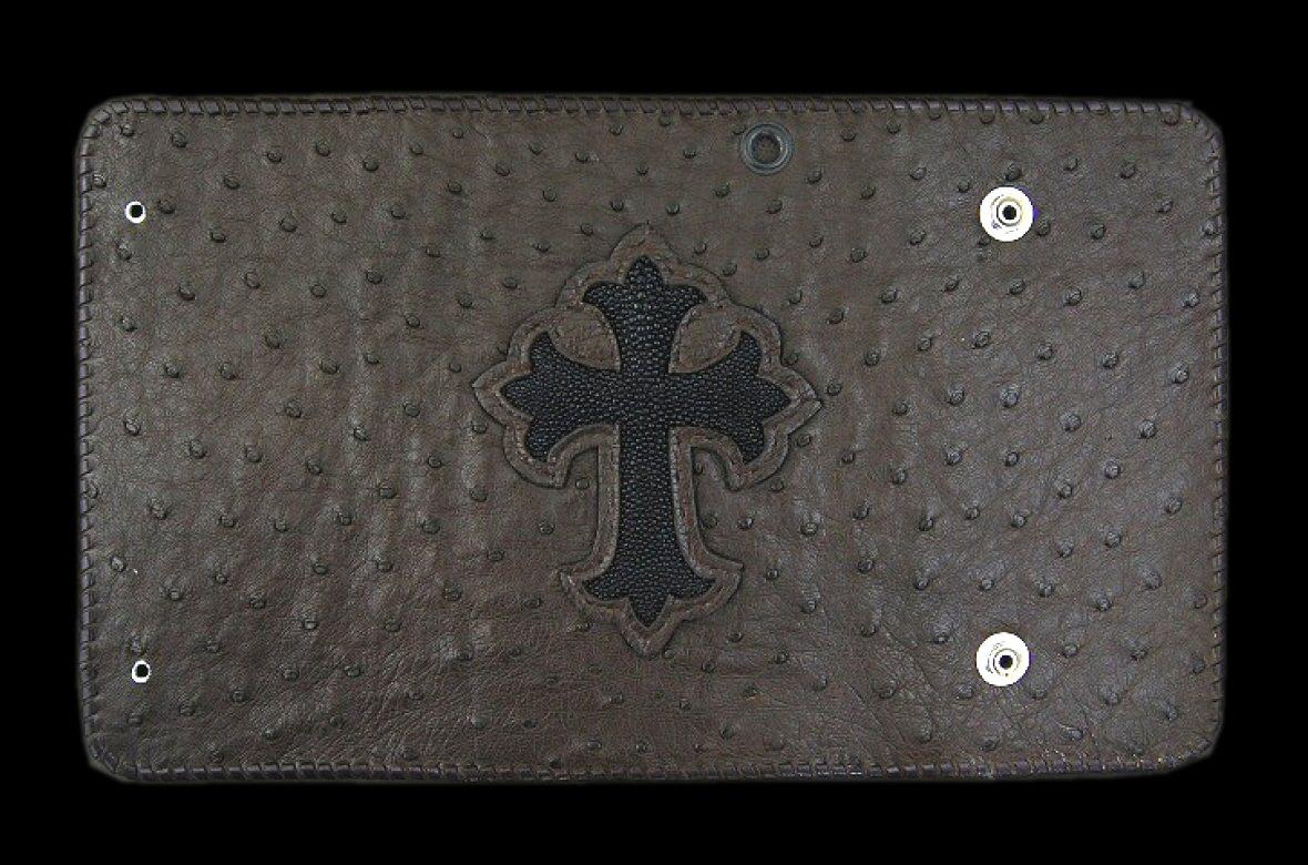 画像1: Stingray Cross Inlay Ostrich Long Wallet