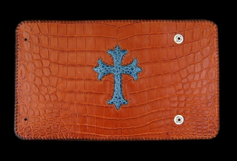 画像1: Frog Cross Inlay Crocodile(Belly) Long Wallet