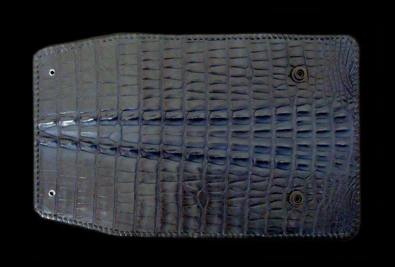 画像1: Crocodile Tail W-Spine Long Wallet